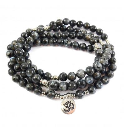Mala 108 beads labradorite gray natural - symbol Ôm