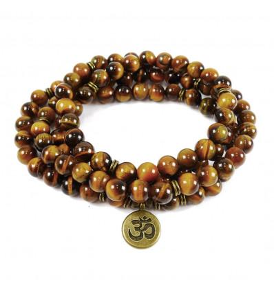 Bracciale mala 108 perle di occhio di tigre + simbolo Ìm