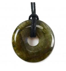 Donut Pi Chinois Labradorite naturelle + cordon. Pendenitf ou bracelet