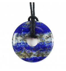 Donuts Pi Chinois Lapis Lazuli + cordon. Pendenitf ou bracelet