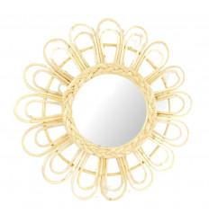 Miroir en rotin 50cm. Fabrication artisanale. Décor fleur. Naturel.