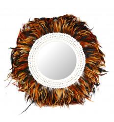 Grand miroir Juju hat marron ø 60cm. Plumes et coquillages. Artisanat