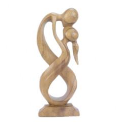 Statua astratta paio Unione Infinita h30cm in legno massello finitura naturale