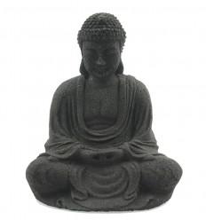 Statuetta di Buddha in pietra nera, decorazione dell'altare buddista Zen.