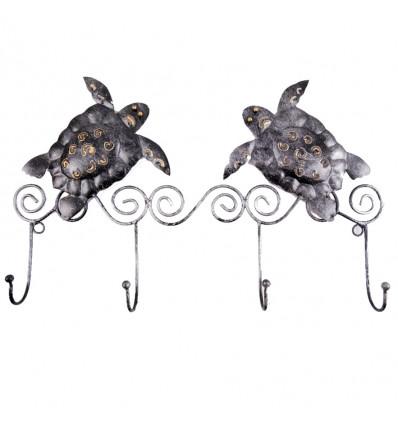 Patere wall, coat rack Gecko 4 hooks wrought iron craft. Deco ethnic.