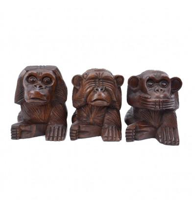 Le 3 scimmie sagge. Statue in legno massello marrone A15cm