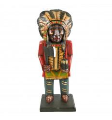 Totem chef indien d'Amérique du nord. En bois massif H50cm.