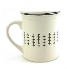 Mug tea infuser 340ml. Off-white ethnic style.