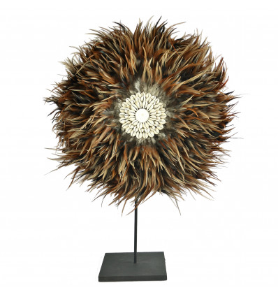 Juju Hat Handmade with Feathers and Shells Brown ø40cm on foot
