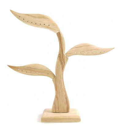 Arbre présentoir à boucles d'oreilles en bois brut. Artisanat de Bali.