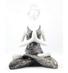 Woman Yogi position tailor with folded hands resin white and silver 22cm