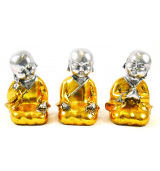 Bébés bouddhas : 3 statuettes en résine laquée or et argent 15cm