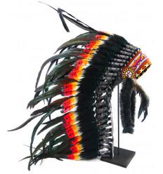 Longue coiffe indienne ornée de véritables plumes blanches et oranges