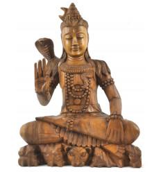 Grande statue de Shiva 50cm en bois exotique. Sculpture artisanale et équitable.