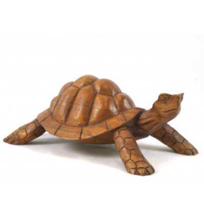 Great statue Turtle earth L30cm in solid wood carved by hand