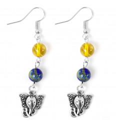 Boucles d'oreilles en Lapis Lazuli et Quartz rutile avec Ganesh