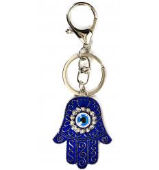 Porte-clefs / Bijou de sac Hamsa bleue - Oeil turc Porte Bonheur