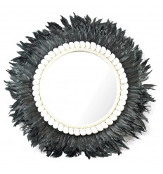 Mirror Juju Hat Handmade with Black Feathers and Shells 60cm