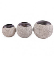 Lot of 3 candle holders round stone grey, zen décor, and ethnic.
