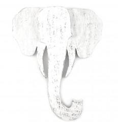 Grande testa di elefante parete di legno invecchiato, etnica decorazione chic.