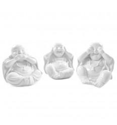 3 Statuettes Bouddha de la Sagesse en Résine Blanche 10cm