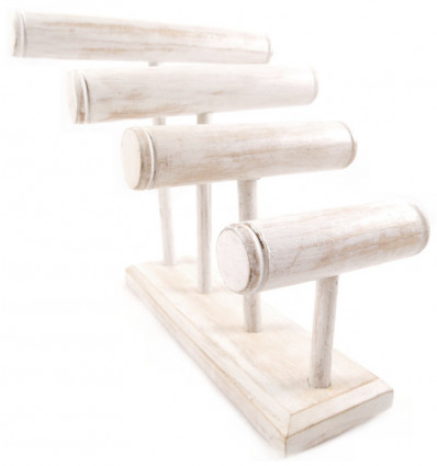 Great display stand for bracelets/watches 4 rods, wood finish white brushed