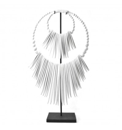 Necklace Ethnic White Wood on Stand 50cm Made by Craftsmen