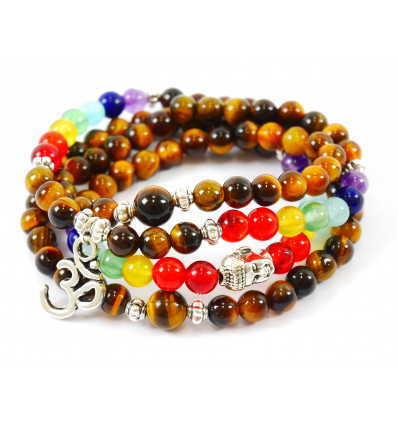 Bracciale multirang 7 chakra - Mala tibetano occhio di tigre e pietre + simbolo Ìm