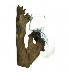 Vase wall-mounted hand-blown glass on teak root wood 50cm Unique Piece