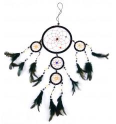 Grand attrape-rêves Noir 5 anneaux décor coquillages Cauris