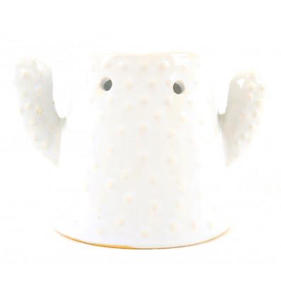 Brûle parfum Cactus en céramique artisanale blanche