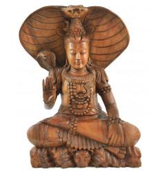 La grande statua di Shiva 50cm legno esotico completamente intagliato a mano - Pezzo eccezionale di fronte zoom