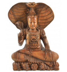 Large statue of Shiva 50cm exotic wood completely hand carved - exceptional Piece of face zooming
