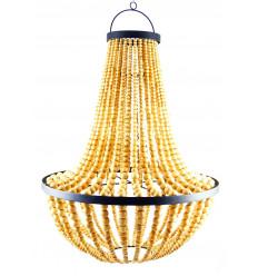 Grande lampadario perline di legno naturale, laccato e ferro battuto artigianale ø50cm