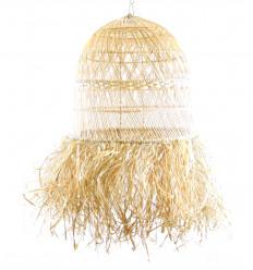 Grand abat jour en rotin et fibres naturelles ø50cm - fabrication artisanale