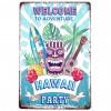 """Plaque métal """"Hawaii Party"""" 30cm"""