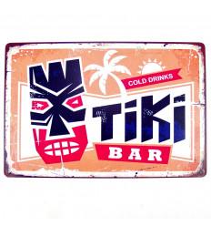Poster Métallique Tableau Tiki Bar Décoration Murale Exotique 30cm