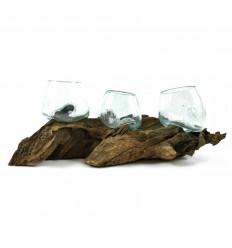 Grande radice di teak massello con 3 vasi in vetro soffiato - Pezzo unico