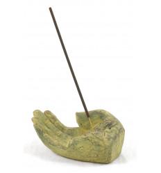 Porta incenso in pietra, mano di Buddha con il bastone