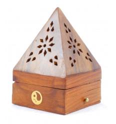 Incenso titolari per coni - scatola di incenso in legno con cassetto a forma di piramide modello Yin Yang