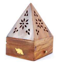 Incenso titolari per coni - scatola di incenso in legno con cassetto a forma di piramide, motivo Elefante