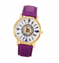 Watch woman motif feathers, black strap. Delivery France Free !