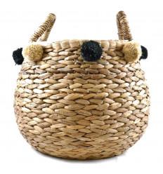 Extra-large Storage Basket Woven Abaca Ø40cm with pom-poms Decorative
