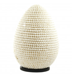 Lampe blanche en Coquillages forme ovale Luminaire exotique 40cm