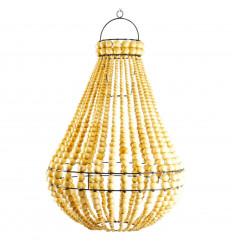 Lustre chandelier en perles de bois et fer forgé artisanal ø40cm