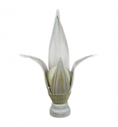 Lamp african in sheet of coconut white brushed. Ethnic decoration exotic.