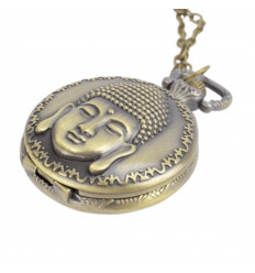 Long necklace Long necklace with golden Buddha pocket watch pendant