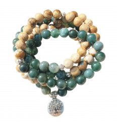 Mala tibétain 108 perles jaspe bois agate verte. Bracelet élastique.