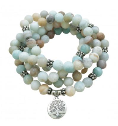 Bracelet Mala 108 perles en Amazonite - Symbole arbre de vie