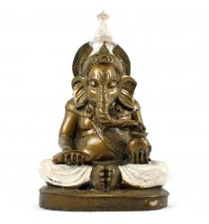 Statua Ganesh Seduta Oro e Bianco in Resina Fatta a Mano 20cm
